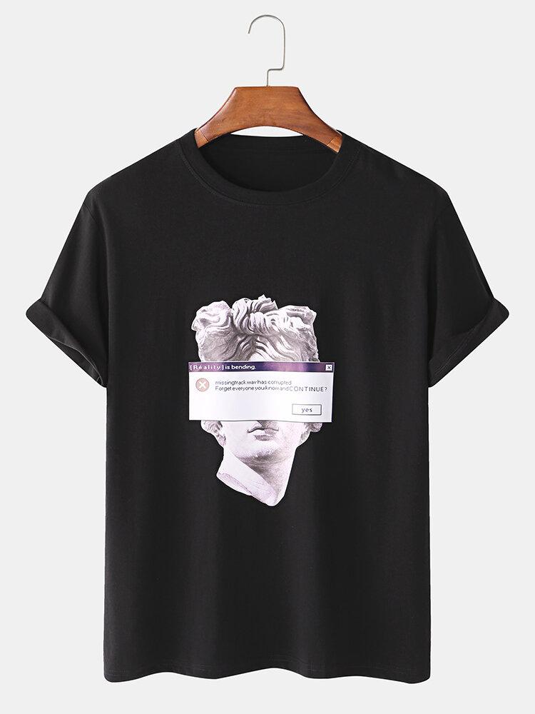 T-shirt graphique à manches courtes imprimé David Michelangelo 100 % coton pour hommes