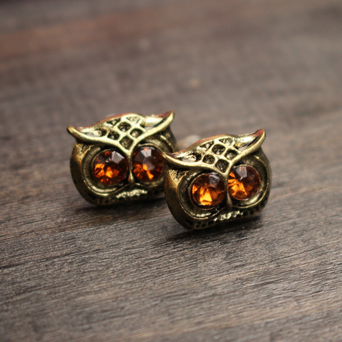 Vintage Unisex Earrings Alloy Owl Rhinestone Eye Earrings
