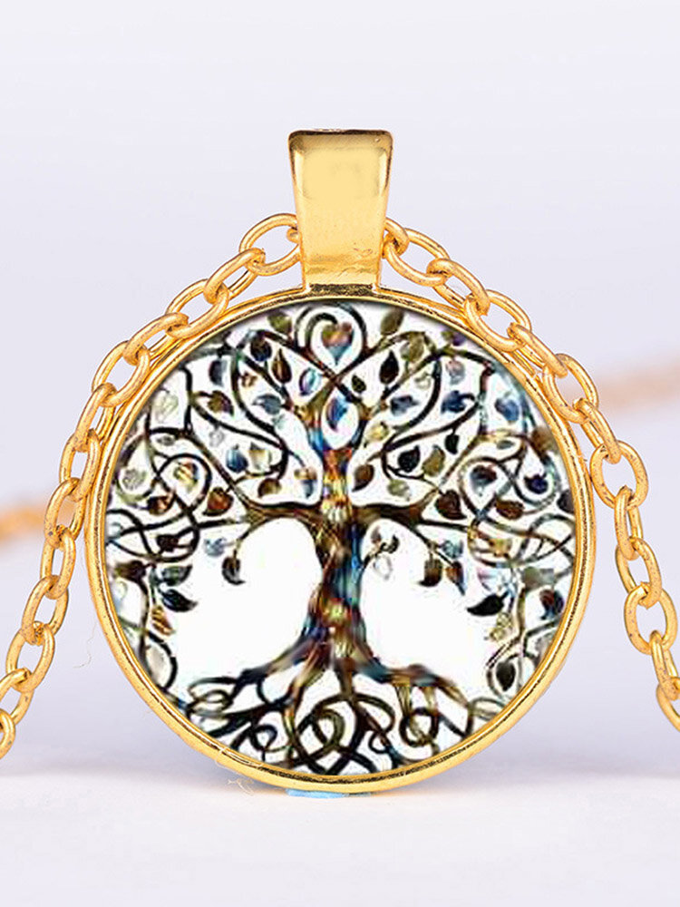 Vintage Geometric Round Tree Of Life Gem Pendant Necklace Metal Colorful Glass Printed Necklace
