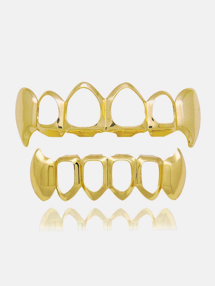 4 Colors Canine Denture Kit Hollow Metal Geometric Braces Grillz Teeth Jewelry