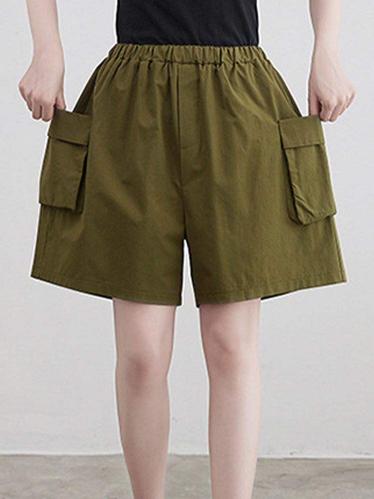 Plain Elastic Waist Flap Pocket Wide Leg Cargo Shorts