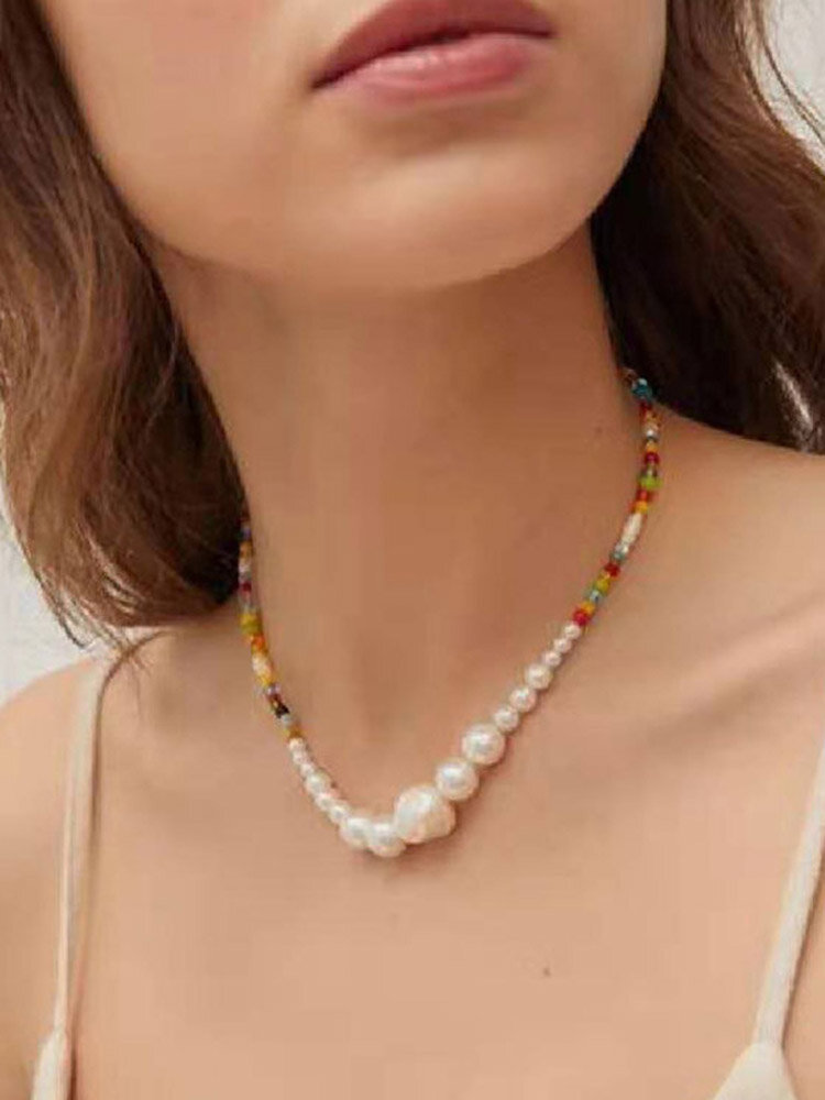 Colored Rice Beads Women Necklace Irregular Pearl Pendant Beaded Necklace Jewelry Gift