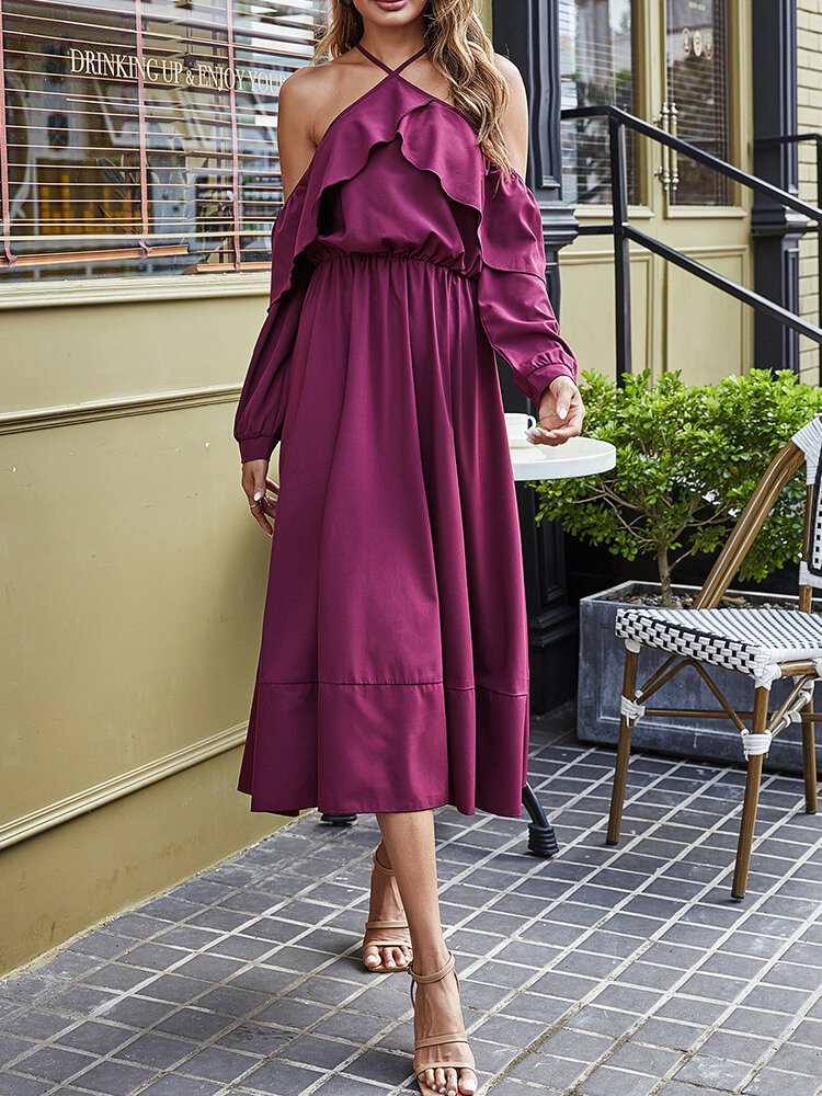 Solid Color Off-shoulder Ruffle Big Swing Casual Sexy Dress