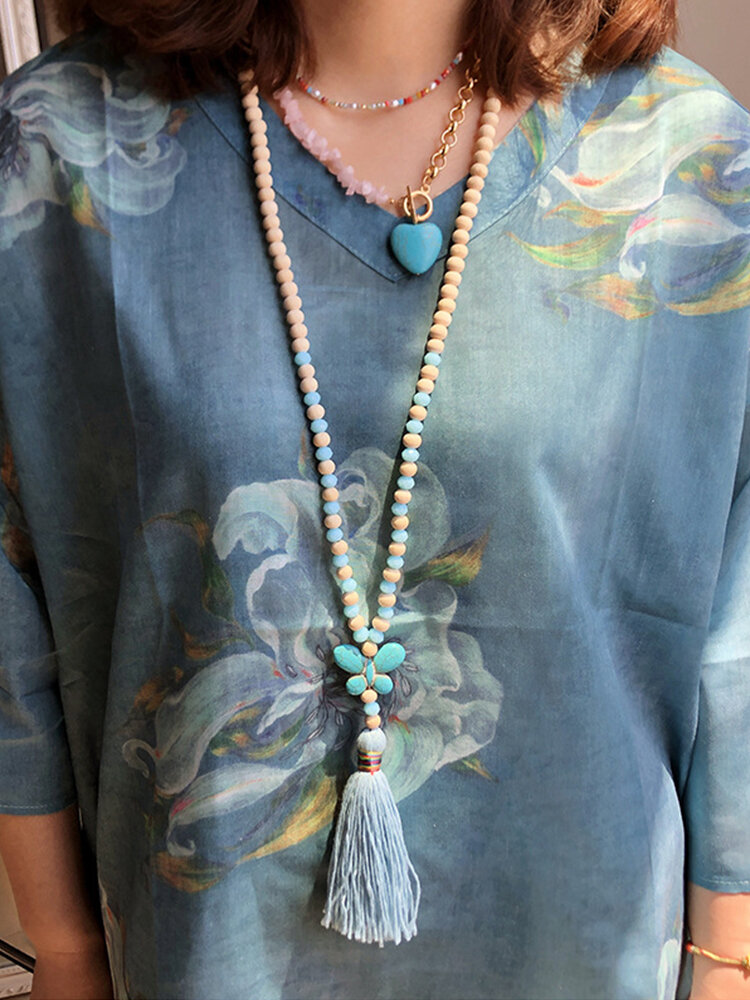 Vintage Ethnic Butterfly Tassel Pendant Wooden Beads Turquoise Necklace
