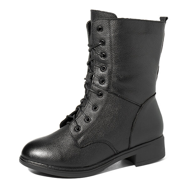 Black Leather Lace Up Motorcycle Boots For Women