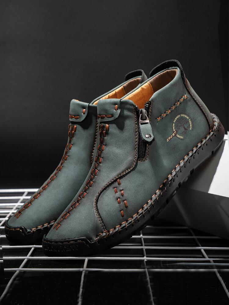 Bottines à glissière latérale en cuir microfibre à coutures à la main vintage pour hommes
