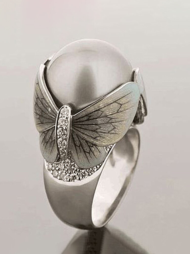 Vintage Butterfly Ring Pearl Diamonds Inlaid Women Jewlery Gift