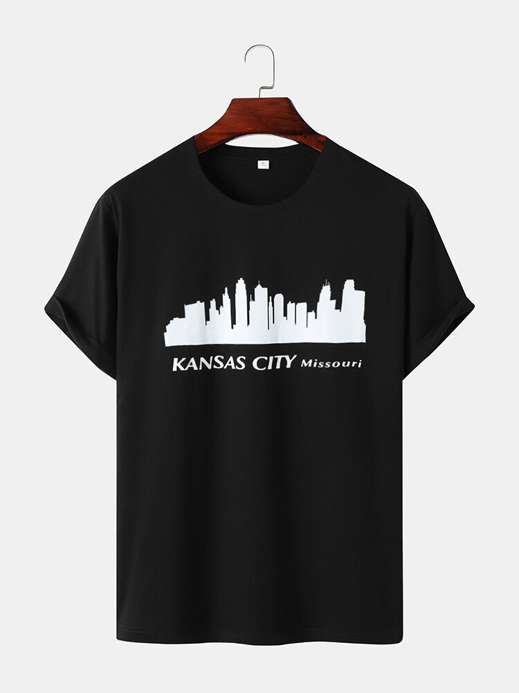 Mens Kansas Building Print Casual Short Sleeve 100% Cotton T-Shirts