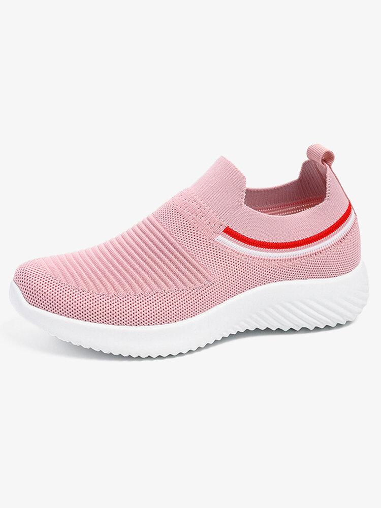 Women Running Lightweight Knitted Elastic Casual Shoes