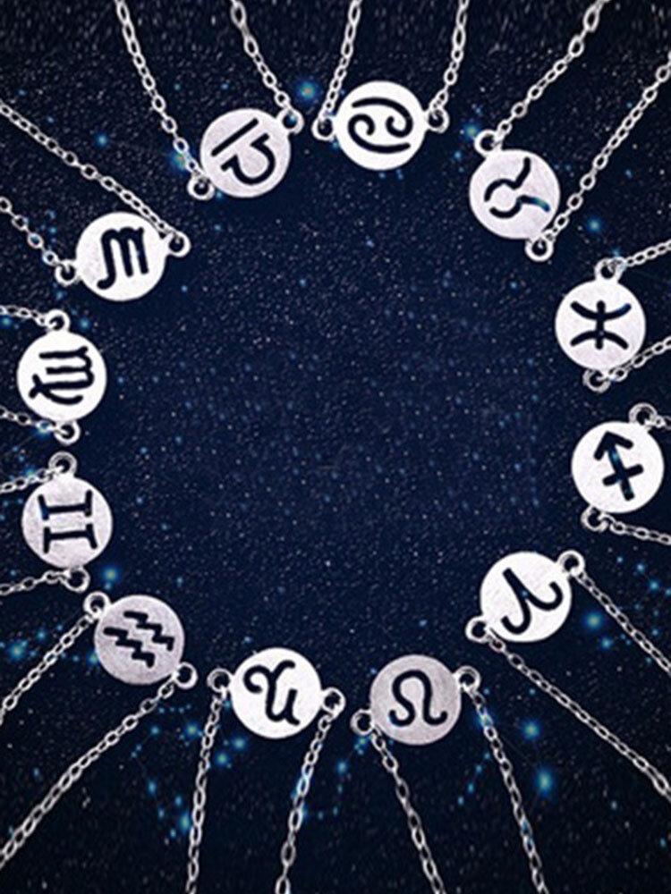 S925 Sweet Simple Silver Zodiac Pendant Bracelet for Women