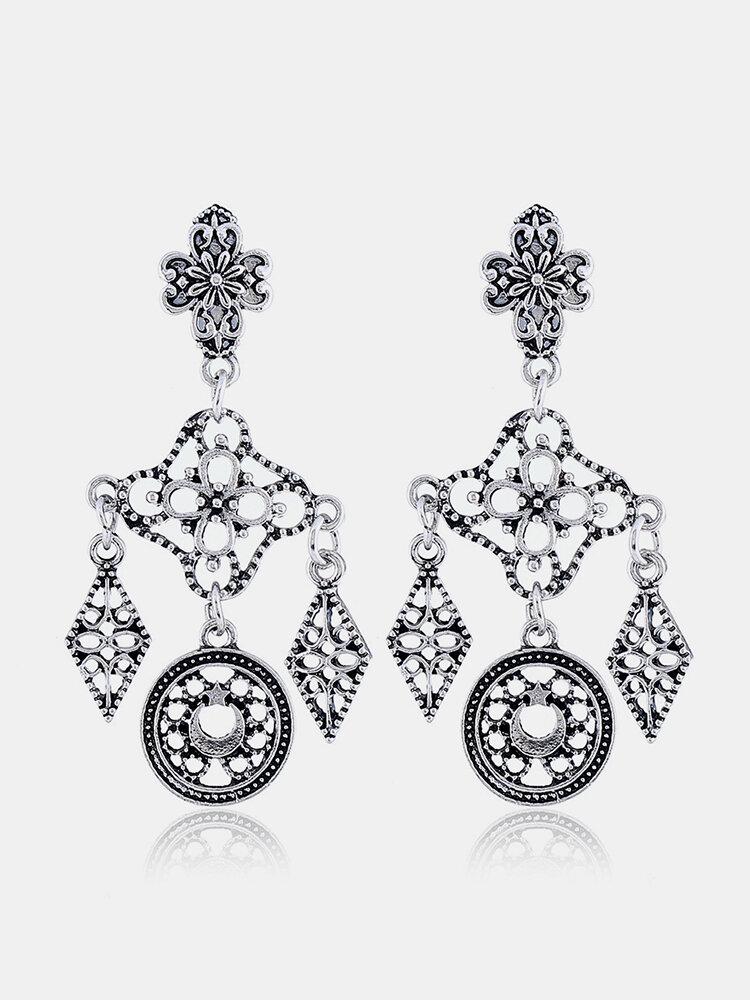 Vintage Ear Drop Earrings Hollow Rhombus Geometric Moon Star Pattern Ethnic Earrings for Women