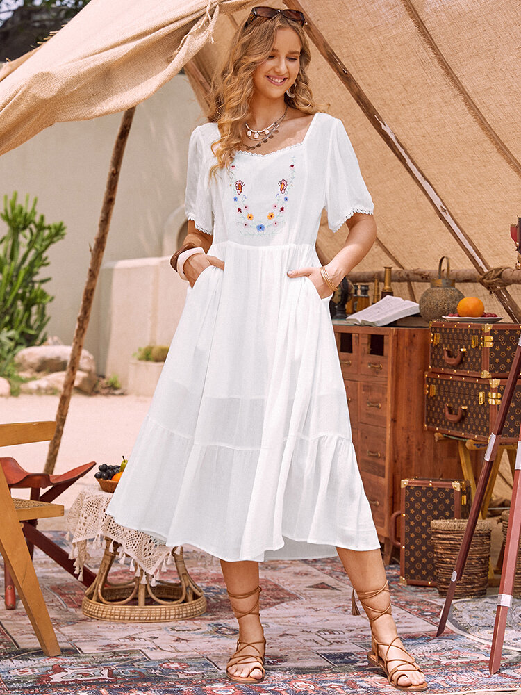 Embroidery Flowers Sqaure Collar Flowy Holiday Dress