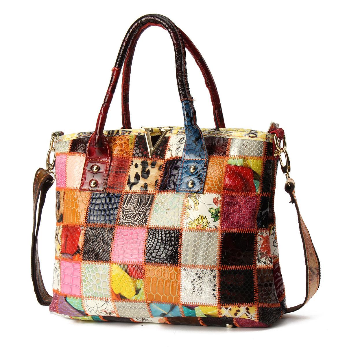 Women Genuine Leather Vintage Tote Handbags Large Capacity Stitching Crossbody Bag