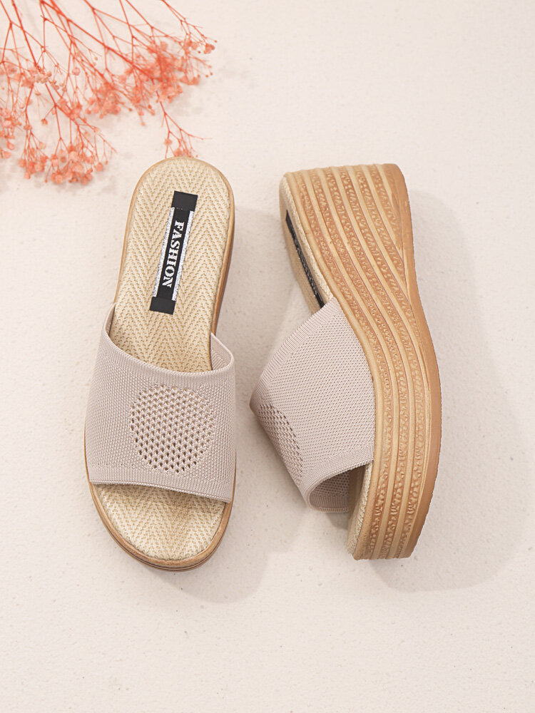 Women Comfy Breathable Hollow Knitted Wedges Slippers