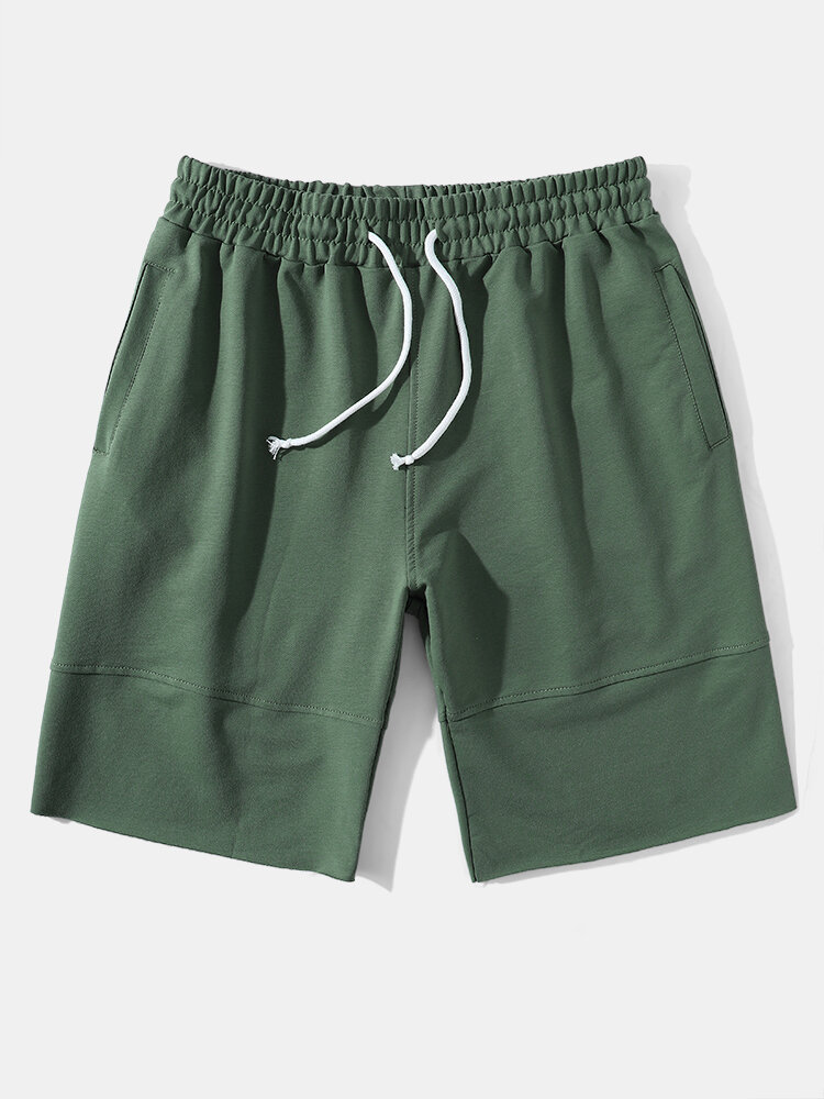 Mens Solid Color Seam Detail Sport Drawstring Mid Length Shorts