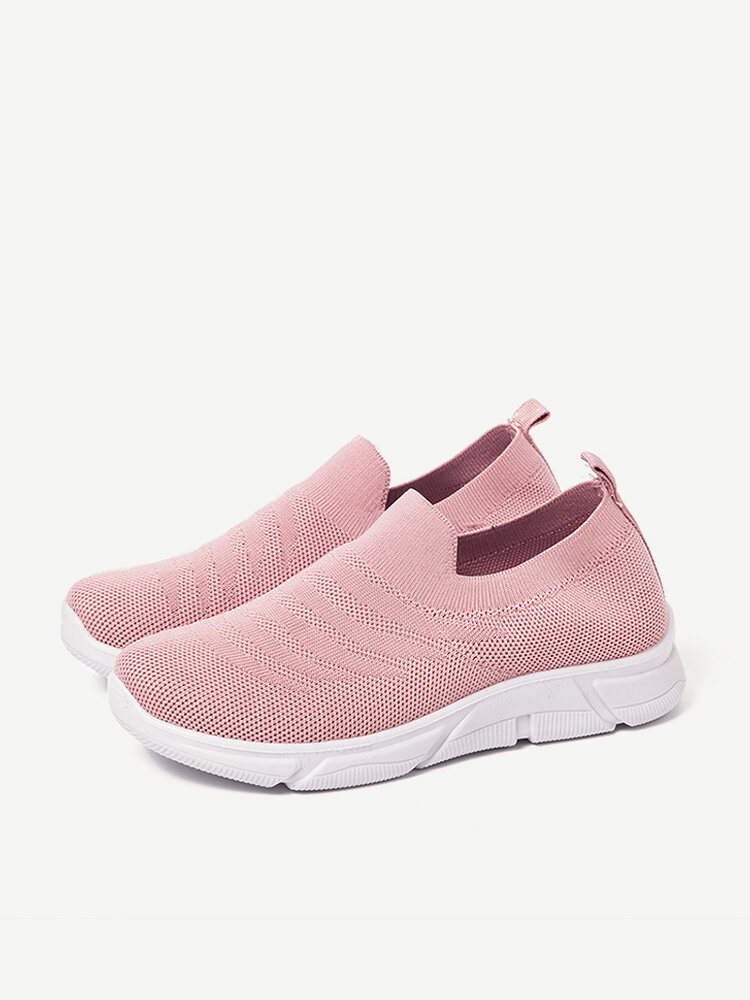 Solid Color Mesh Knitted Slip On Lazy Athletic Shoes