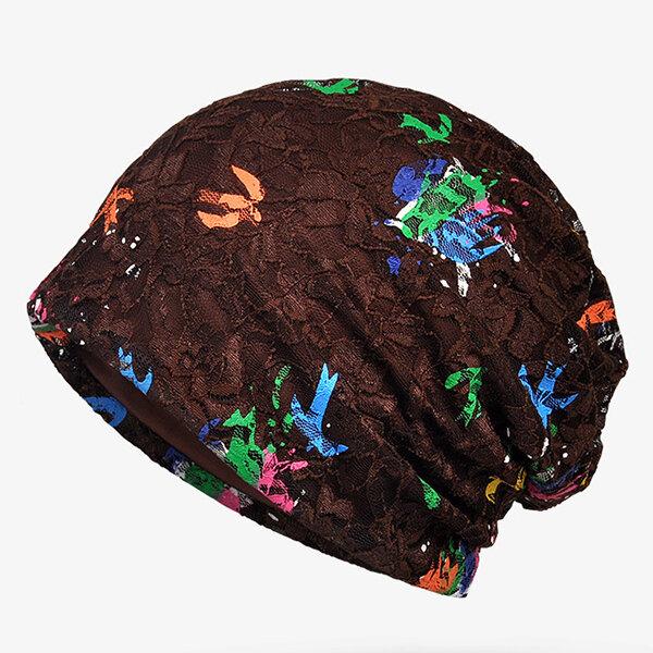 Thin Lace Cap Color Paint Jacquard Turban Beanie Hat Fashion Cap Print Bonnet Cap For Woman