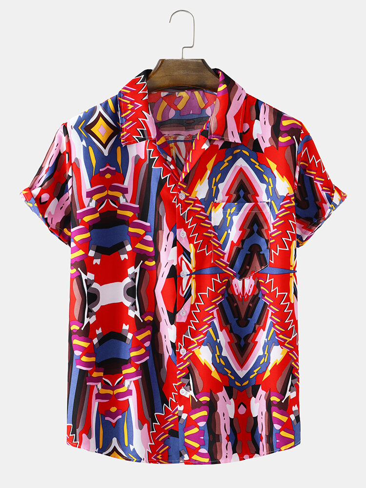 Mens Colorful Abstract Geo Print Revere Collar Short Sleeve Shirts
