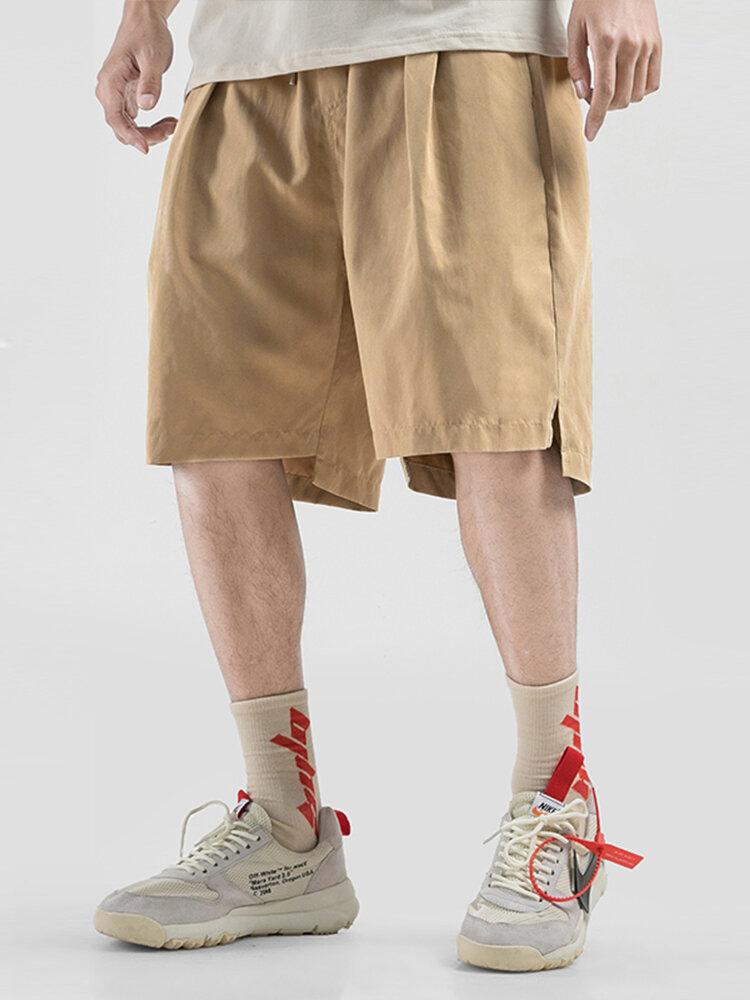 Pantalones cortos casuales con cordón de color sólido para hombres