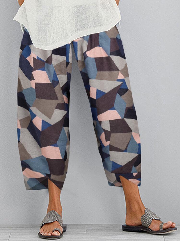 Geometric Print Elastic Waist Plus Size Pants with Pockets