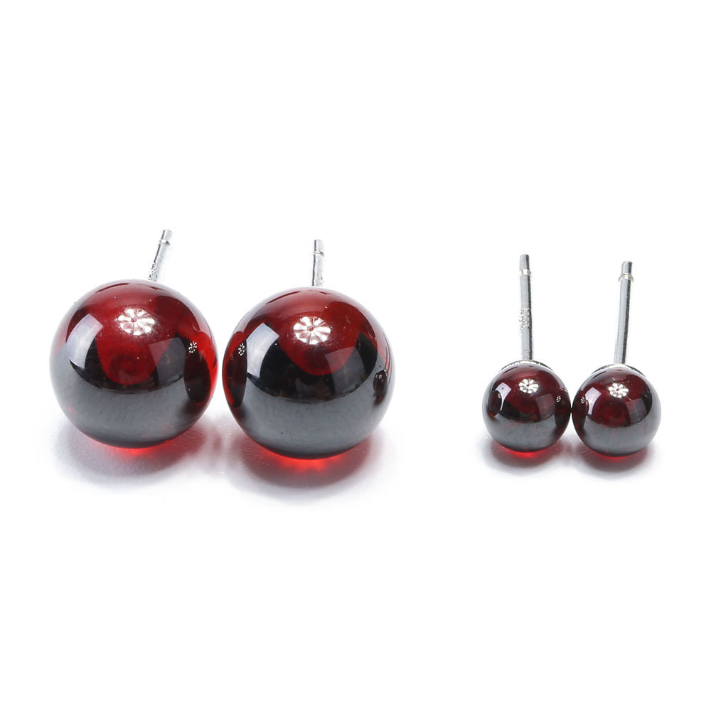 925 Sterling Silver Earrings Small Natural Red Agate Ball Bead Classic Stud Earrings for Women