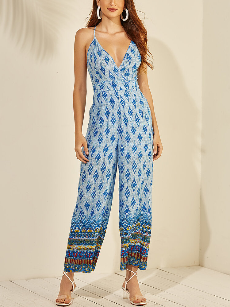Vintage Ethnic Print Long Sleeveless Casual Jumpsuit for Women