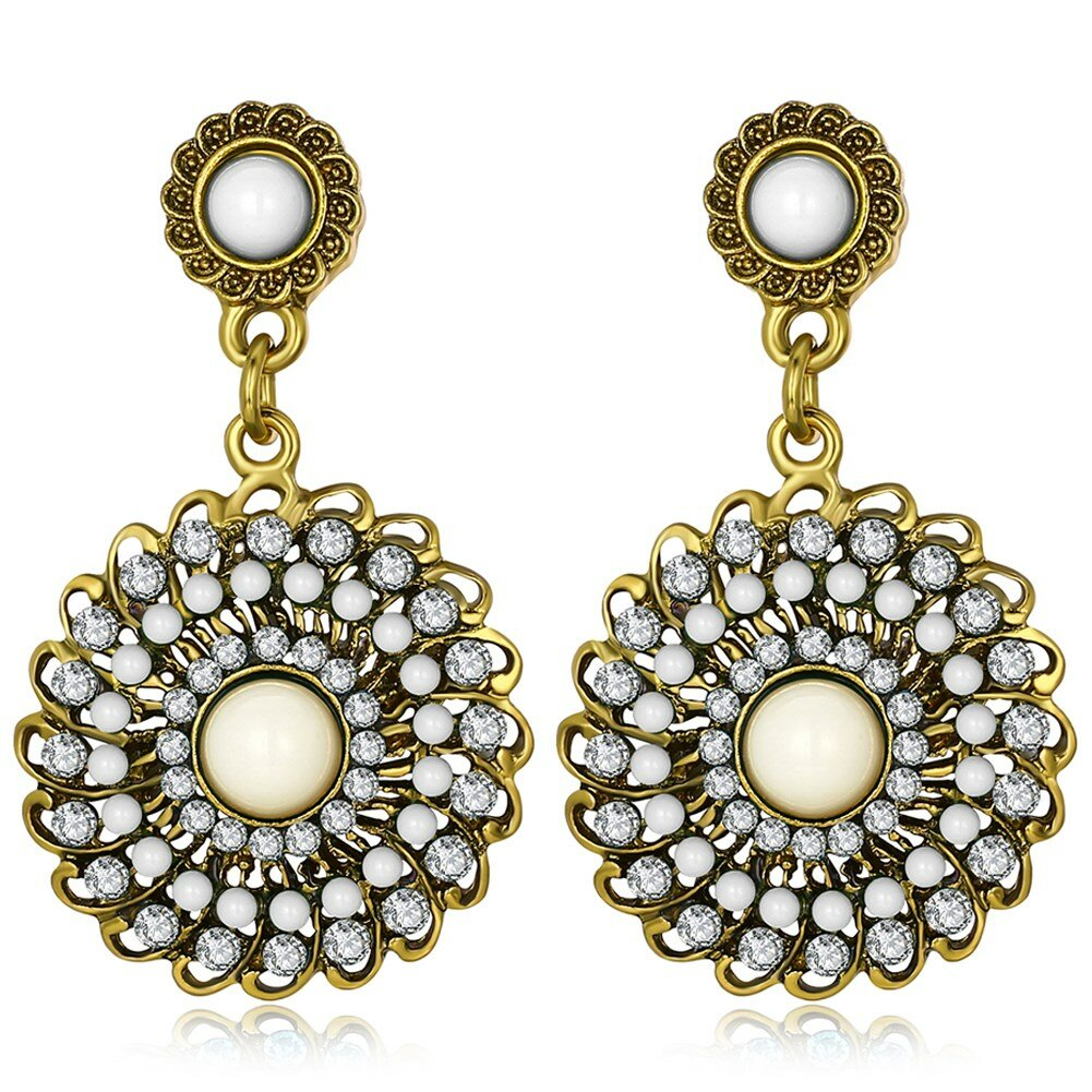 Bohemian Women's Round Drop Flower Ear Drop Retro Rhinestones Earrings Gift