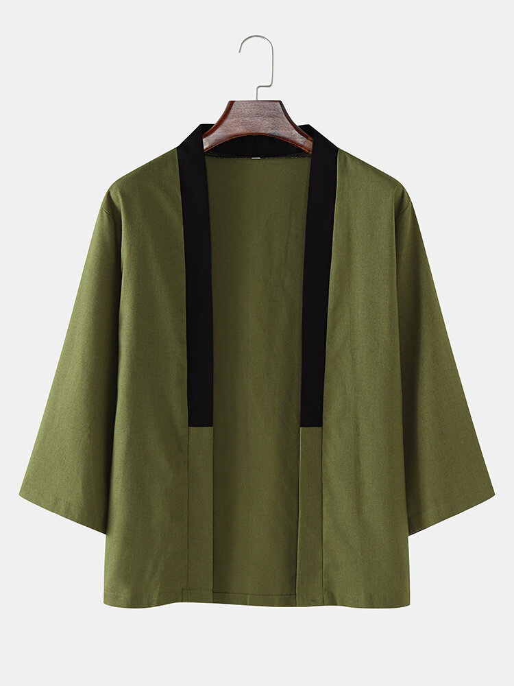 Mens Solid Color Open Front Loose 3/4 Sleeve Kimono