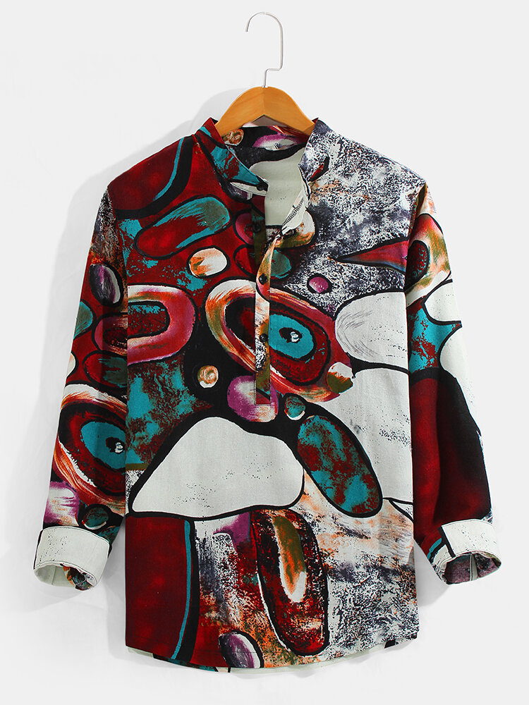 Mens Ethnic Abstract Print Cotton Linen Casual Long Sleeve Henley Shirts