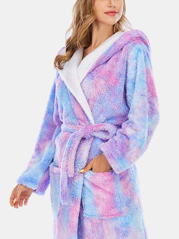 Women Tie Dye Sashes Coral Fleece Hooded Thick Winter Loose Sleepwear Robes