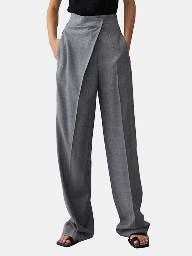 Solid Color Plain Asymmetrical Pocket Long Casual Pants for Women