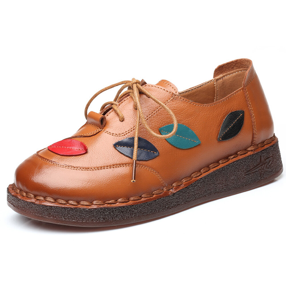 Splicing Handmade Leather Slip Resistant Soft Lace Up Flat Shoes For Women
