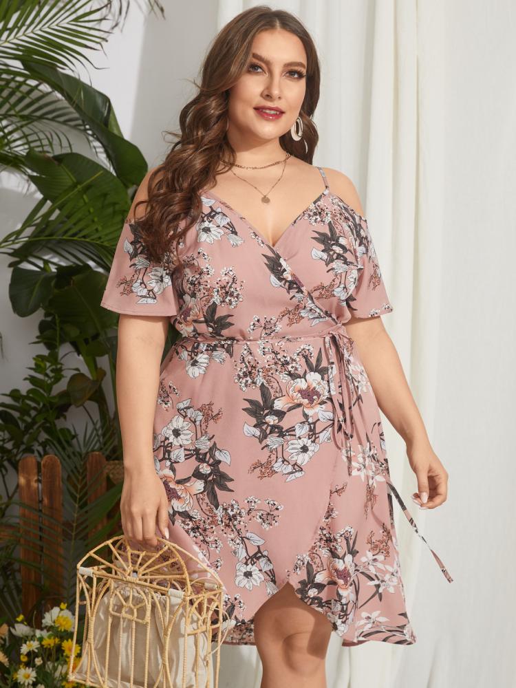 Flowers Print Straps Knotted Plus Size Midi Dress