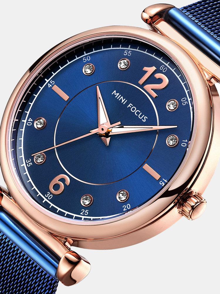 Elegant Design Mesh Steel Women Wristwatch Crystal Ladies Quartz Watch