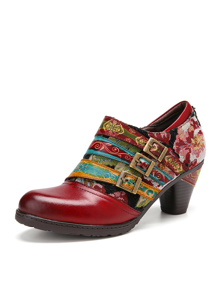 SOCOFY Three Colors Buckle Strap Grace Flower Cloth Splicing Genuine Leather Chunky Heel Shoes