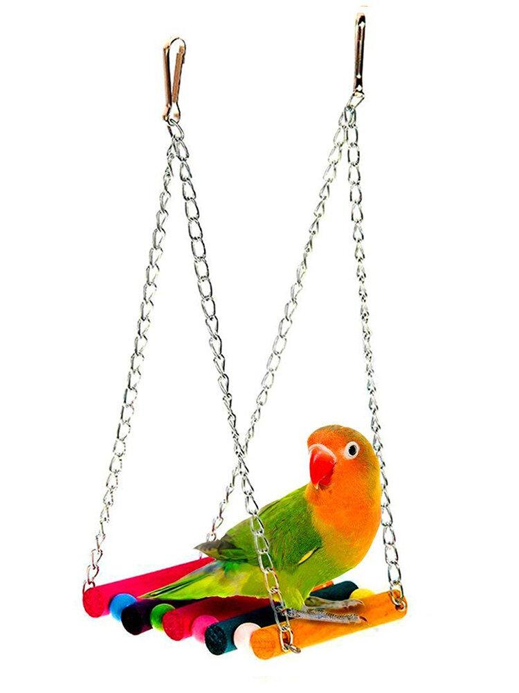 Papagei Spielzeug Colorful Holzschaukel Hängebrücke Stehen Bar Vogelkäfig Zubehör Haustier Spielzeug