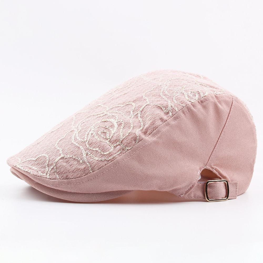Women Comfortable Beret Cap Fashion Embroidered Cotton Cap Breathable Adjustable Outdoor Sun Hat