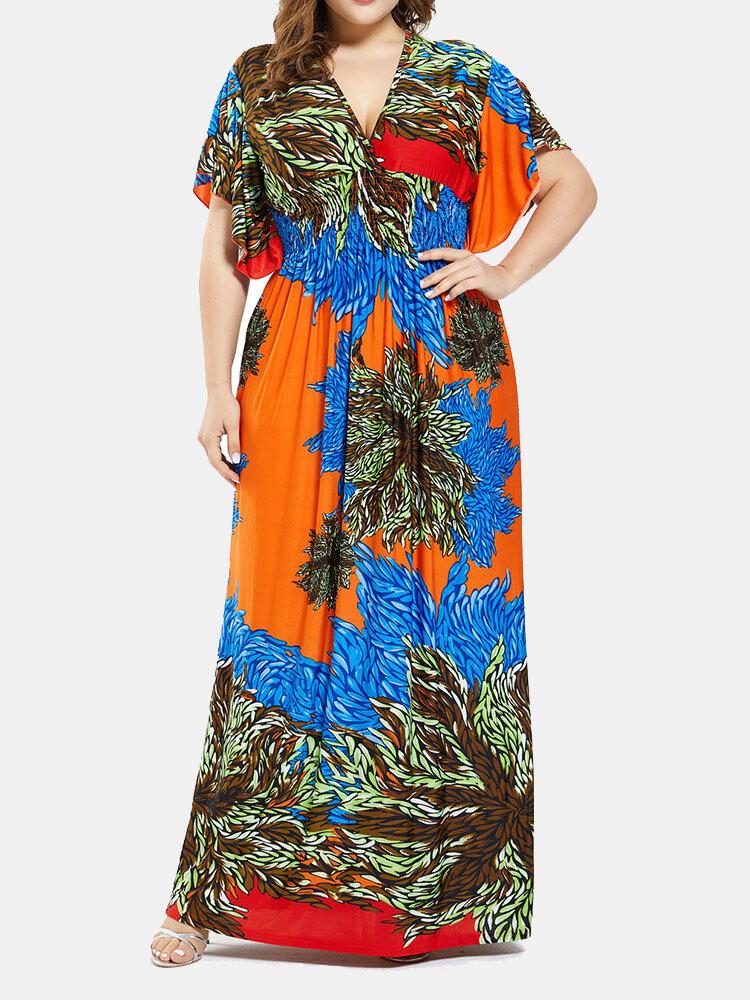 Bohemian Calico Print V-neck Plus Size Holiday Beaches Long Dress