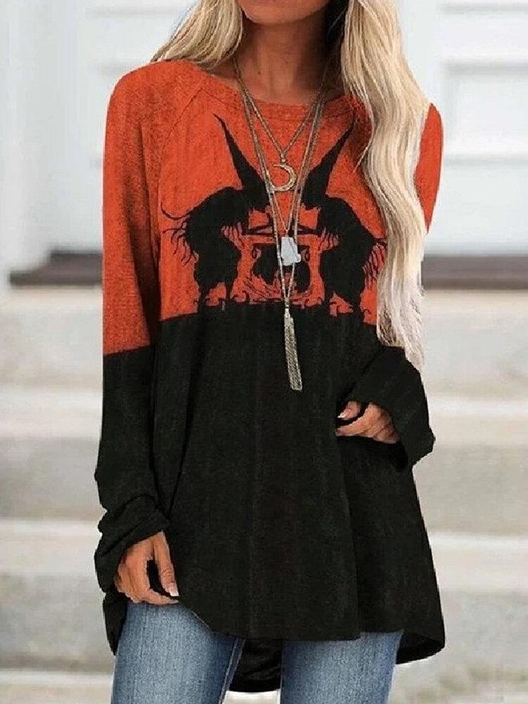 T-shirt long à col rond imprimé Halloween - Newchic - Modalova