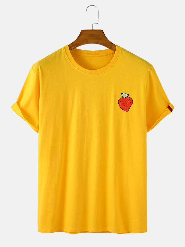 Mens Cotton Strawberry Print Solid Color Casual Loose O-Neck T-Shirts