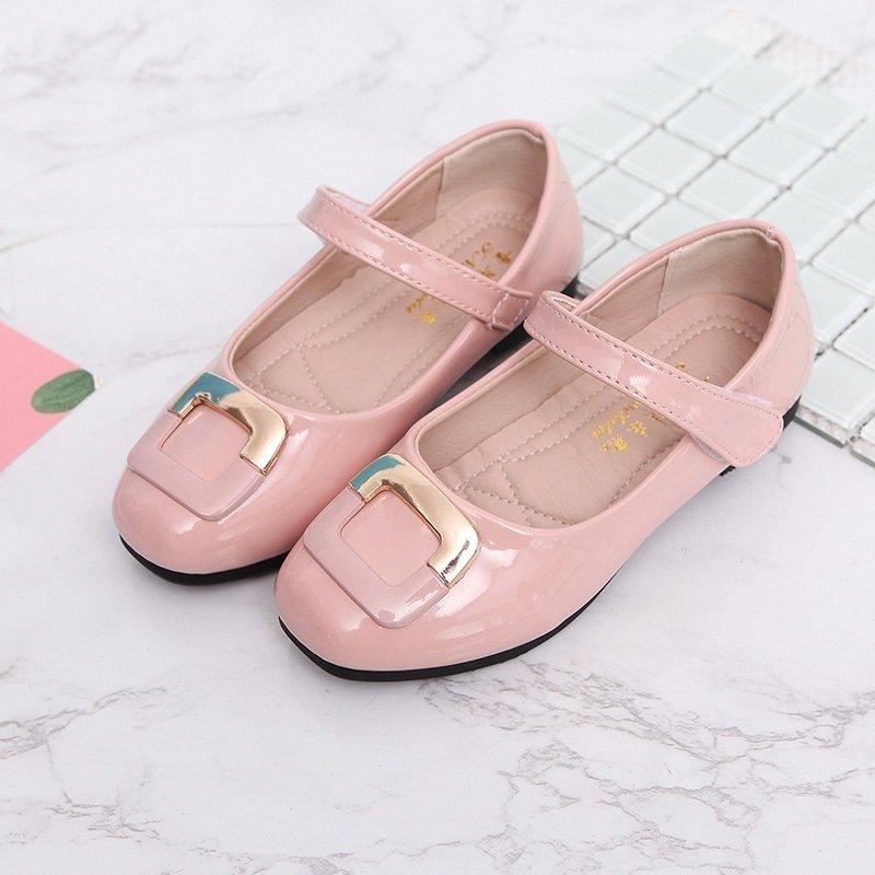 Girls Square Decor Hook Loop Elegant Mary Jane Shoes