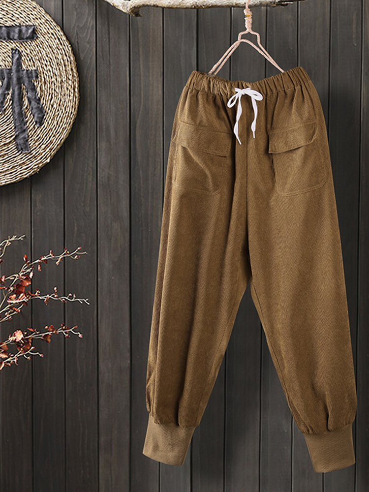 Elastic Waist Corduroy Hefty Cuff Casual Plus Size Pants With Front Pockets
