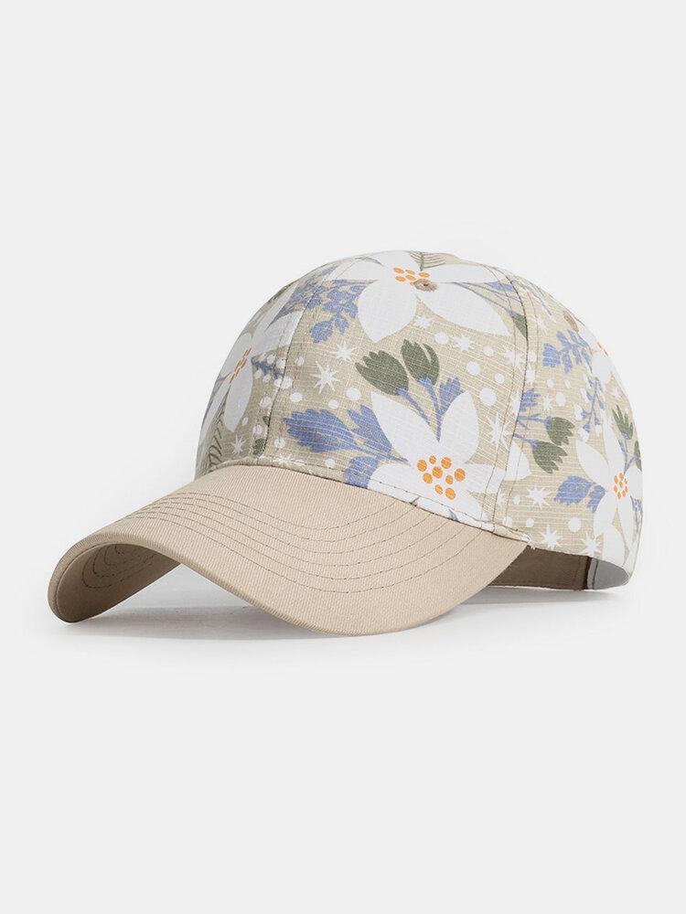Women Cotton Beach Style Floral Pattern Outdoor Travel Sport Sunshade Baseball Hat