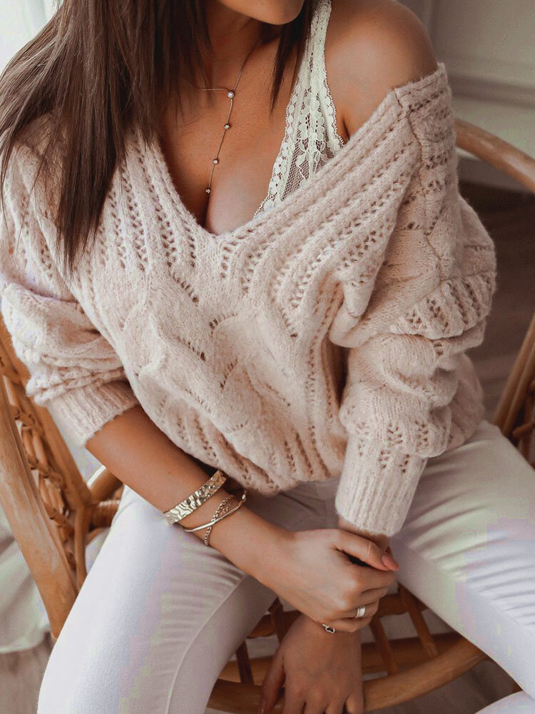 Solid Dropped Shoulders V-neck Long Sleeve Knitted Sweater