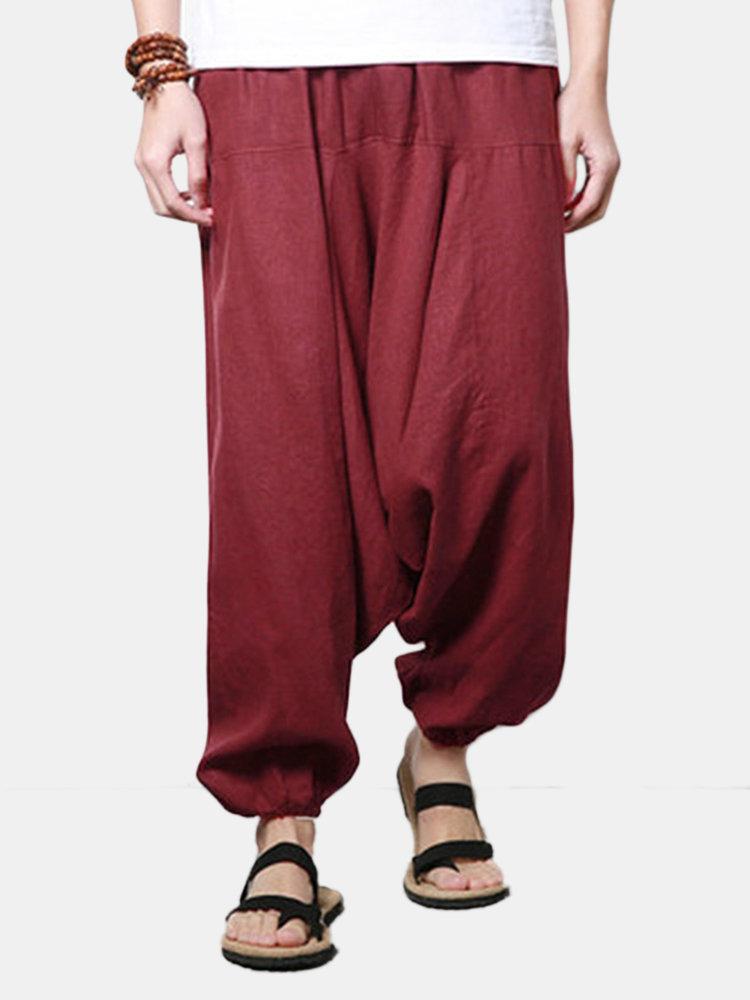 Mens Cotton Linen Solid Casual Wide Legs Harem Pants