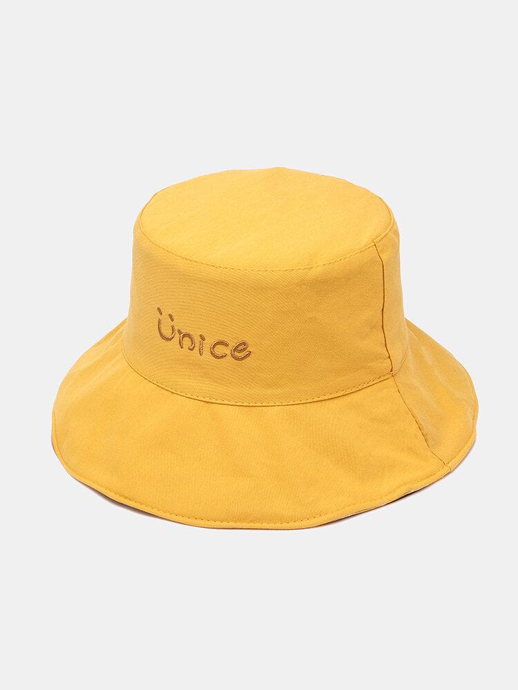 Unisex Double-sided Cotton Lattice Pattern Young Sunshade Bucket Hat