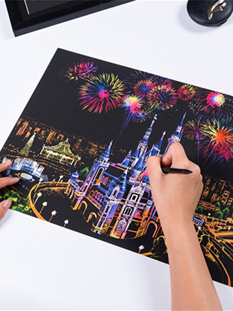 DIY Painting Scratch Scraping Drawing Paper World Sightseeing Pictures Creative Gift