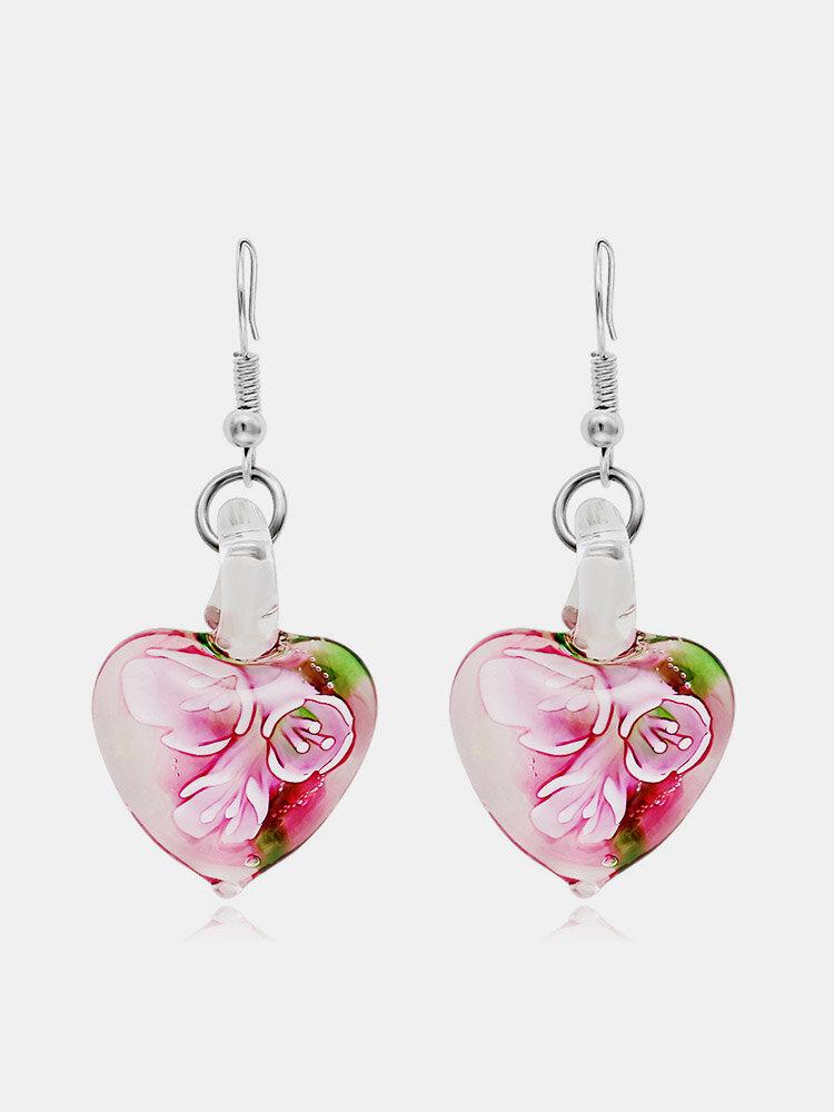 Bohemian Creative Luminous Ethnic Jewelry Earrings Flower Pattern Heart Dangle Earrings for Women