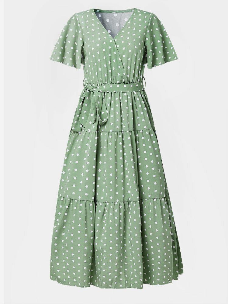 Dot Print V-neck Short Sleeve Women Dress with Belt
