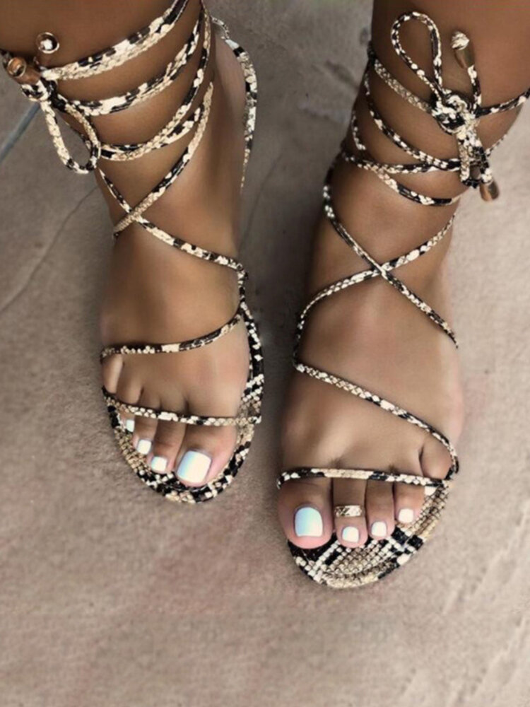 Women Casual Open Toe Strappy Lace Up Flat Sandals